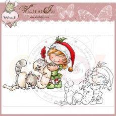 Whiff of Joy Rubber Stamp - Elf Maya & Kitty Writing Santa's List