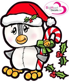 Christmas Penguin 2 from Big Heart Decals Inc. Made in Canada. Fabric stickers or wall decals for nursery or kids playrooms. Sticks on walls, windows and flat surfaces. Movable, removable, no residue. Price: $18.00 - 11x13.5 inches