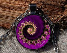 Purple fractal pendant Fractal art necklace Fractal by Aranji