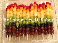 Some of you may remember the gnarly (and slightly evil-looking) Mr. Fruit Head my mom made last year for our Family Reunion. This year she decided to make Rainbow Fruit Kabobs. How beautiful are these?! You will need… Raspberries Mandarin Orange Segments Pineapple, cut into chunks Green Grapes Purple Grapes Blueberries Skewers Thread fruit onto …