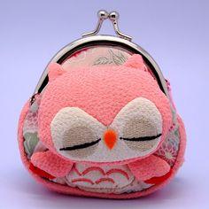 SALE Super cute pink sleeping owl - small clutch / coin purse