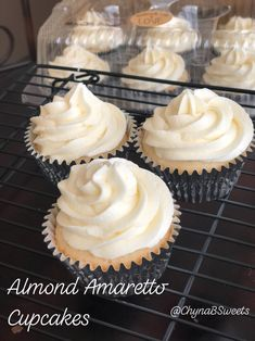 Almond Cupcakes with a White Chocolate Ganache Center & topped with Amaretto Infused Buttercream. Visit our website to order your celebration cupcakes today! Almond Frosting, Almond Cupcakes, Cupcake Frosting, Cupcake Cakes, Cupcake Flavors, Cupcake Recipes, Dessert Recipes, Desserts, Amaretto Cupcakes Recipe