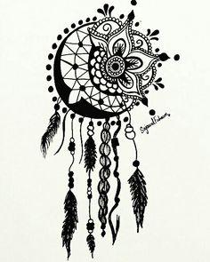 Mandala Art, Mandala Drawing, Mandala Tattoo, Mandala Design, Badass Drawings, Cool Art Drawings, Tattoo Drawings, Dream Catcher Tattoo Design, Dream Catcher Art
