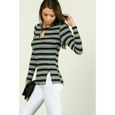Rosie Striped Top Beautiful keyhole top Tops Tees - Long Sleeve