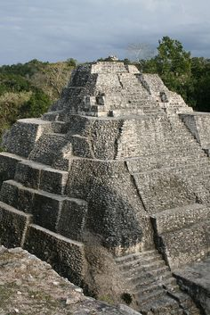 Mayan ruins of Yaxha . El Peten jungle . Guatemala