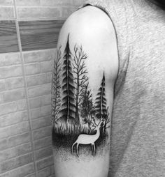 Tree deer tattoo
