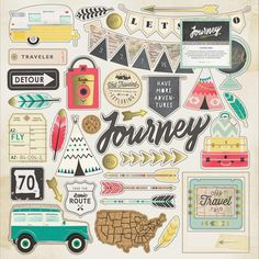Crate Paper - Journey Collection - 12 x 12 Chipboard Stickers with Foil Accents: Record your road trip using the Journey Collection x Chipboard Stickers by Crate Paper. The package includes one x sheet of chipboard stickers that feature foil Recipe Scrapbook, Scrapbook Kit, Scrapbook Stickers, Craft Stickers, Printable Stickers, Printable Planner, Planner Stickers, Printables, American Crafts