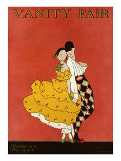 Published December 1, 1914    Against a terra cotta background, a masked harlequin charms a lovely young dancer in a dress of yellow ruffles by slipping a red rose into her hand. The illustration, by A.H. Fish, appeared on the December 1914 cover of Vanity Fair.