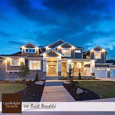 """Wow!"" That pretty much says it all. #candlelighthomes #utahhomes #utahbuilder #newhomesutah #WeBuildBeautiful #homedecor #exterior #craftsman #siding #whitetrim #home #utah"