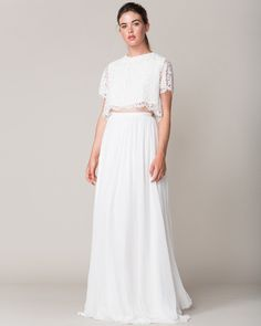 Yes, it's possible to go timeless with separates, too. Proof: this lovely lace top and an ethereal chiffon skirt.