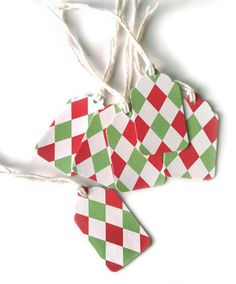 10 Holiday Green and Red Gift Tags Checkered by CatalinaInspired