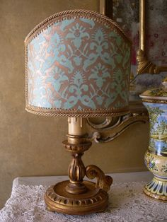 Antique Italian Gilt Carved Wood Candlestick Table Lamp with Fortuny Lamp Shade