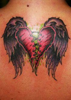 Winged sewing broken heart