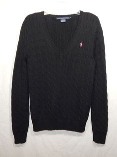 65ad146290d Ralph lauren womens v-neck cable knit sweater x-large pony logo xl shirt top