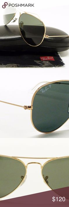 RAY BAN 3025 58 POLARIZED Aviator Sunglasses gold These are basically brand new Ray ban polarized Aviator sunglasses in the style 3025 with 58mm lens. I've worn these twice and I love the look, but unfortunately they are too heavy for my face and slide off my nose. These are actual pictures of the sunglasses that you will receive and they come with the case and cloth  Model: Ray Ban 3025 001/58 Style: Pilot Frame material: Metal/Plastic Frame color: Gold Lens: Green Classic G-15 Lens…