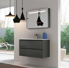 80 Grå med speilskap Decor, Ceiling Lights, Ceiling, Home Decor, Light