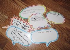 Speech and thought bubbles are a tool I like to use in my classroom. Students respond positively to them and even reluctant writers will try to get their thoughts down on Classroom Organisation, Classroom Projects, Classroom Management, Classroom Ideas, Speech Language Therapy, Speech Pathology, Bubble Activities, Creative Teaching, Teaching Ideas