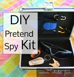 Hours of imaginative playtime fun with a simple DIY Pretend Spy Kit! Do your kids enjoy pretend play? My little spy will love this! Craft Activities For Kids, Projects For Kids, Diy For Kids, Gifts For Kids, Craft Ideas, Fun Gifts, Kids Crafts, Devon, Spy Kids