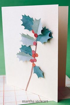 A sprig of holly springs to life from atop a store-bought plain note card. This project wouldn't fare well in the mail, so save it for greetings you're planning to deliver by hand. #marthastewart #christmas #diychristmas #diy #diycrafts #crafts