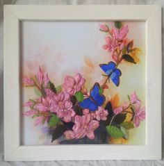 Framed Ribbon embroidery Butterflies Handmade decor Art and collectibles Wall decor Floral design Silk flowers Gift for her Gift for mom