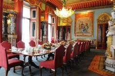 Chinese Dining Room : semi state room facing the front Palace Interior, Interior And Exterior, Interior Design, Palais De Buckingham, Colorful Apartment, English Royal Family, State Room, Royal Residence, Dining Room Design