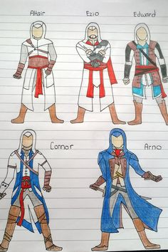 Assassins Creed Altair, Ezio, Edward, Connor and Arno sketch drawings