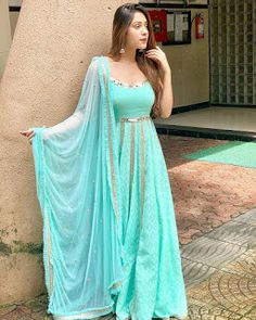 Colors which make us more brighter Price DM Fabric rayon Indian Gowns Dresses, Indian Fashion Dresses, Dress Indian Style, Indian Designer Outfits, Indian Outfits, Indian Attire, Indian Clothes, Pakistani Dresses, Kurta Designs