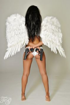 Without the angel wings and with my gun and his gun