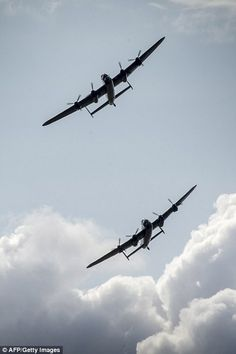 The Lancaster Thumper, flying as part of the RAF Battle of Britain Memorial Flight, was joined by the Canadian Lancaster Vera from Ontario Navy Aircraft, Ww2 Aircraft, Military Jets, Military Aircraft, Bomber Plane, Lancaster Bomber, Ww2 Planes, Battle Of Britain, Vampire