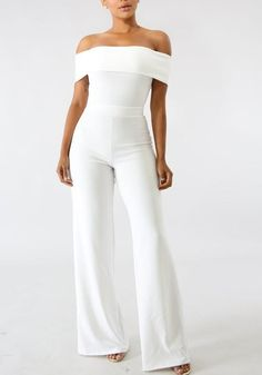 White Zipper Off Shoulder Backless School Appropriate Elegant Party Wide Leg Long Jumpsuit Teen Fashion Outfits, Outfits For Teens, New Outfits, Trendy Outfits, Fashion Tips, Fashion Design, Prom Outfits, Only Fashion, Fashion Looks