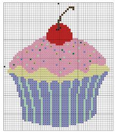 Gráfico cupcake para bordar ponto cruz