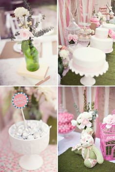 Top Left, I would go with a clear glass bottle. Otherwise, love the idea. Top right, very nice color. Bottom left, silver kisses in white candy bowl is very cute. Negative on the table cloth and topper w/blue (ick). Bottom right, no. Too green and easter-ish.