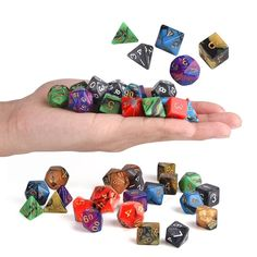 42Pcs 6 cores acrílicas Multisided Dice Sets Role Playing Game Dice Gadget