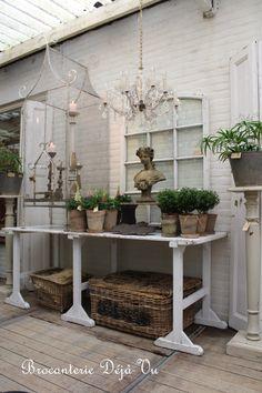 Garden statue + chandelier