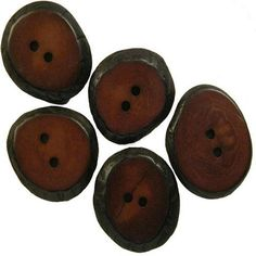 Set of 5 Small Wine Colored Tagua Sliced Buttons from Ecuador Handmade Fair Trade.