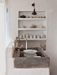 *KITCHEN* stone, concrete, open shelves