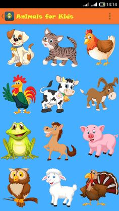 "Animals for Kids is a FREE educational application that helps young children learn the animals and their voices.<p>It has 33 animals (dog, cat, chicken, rooster, cow, donkey, frog, horse, pig, owl, sheep, turkey, lion, duck, wolf, monkey, elephant, bear, camel, zebra, parrot, snake, hippopotamus, panda, peacock, seal, whale, giraffe, crocodile and canary).<p>From version 1.1.0 and on, kids can play the game ""What animal is it?"", which can teach them to recognize the animals.<p>Animals for…"