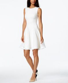 Designer Clothes, Shoes & Bags for Women Fit N Flare Dress, Flare Skirt, Fit And Flare, Simple Red Dress, White Dress, Tight Dresses, Dresses With Sleeves, Review Dresses, Calvin Klein Dress