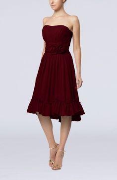 77033ab530d6b Damas dress ideasBurgundy Vintage A-line Sweetheart Sleeveless Knee Length  Bridesmaid Dresses - iFitDress.
