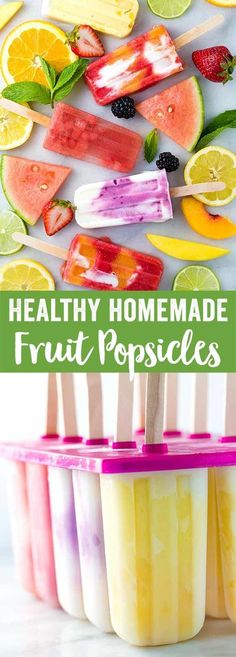 Healthy homemade fruit popsicles made with five ingredients or less! Four delicious recipes to choose from, strawberry, watermelon, lemon, and coconut.  via @foodiegavin