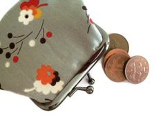 Small Change Purse Grey with oriental flower by moodycowdesigns, £10.00