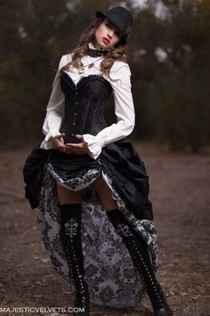 3 Pc. Victorian Steampunk Black Corset with Double White & Black Damask Bustle Skirt  Majesticvelvets.com
