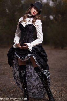 3 Pc. Victorian Steampunk Black Corset with Double White & Black Damask Bustle Skirt  Majesticvelvets.com