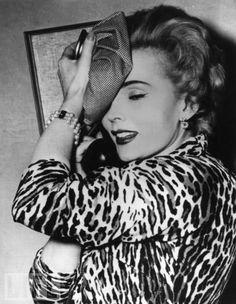 Zsa Zsa Gabor in leopard print, 1950s