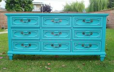 DRESSER 9 DRAWER TEAL COLOR,SHABBY CHIC/FRENCH PROVINCIAL EV