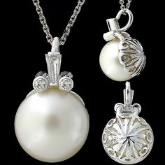 10 mm ANTIQUE GENUINE PEARL AND DIAMONDS PENDANT NECKLACE SOLID 14K WHITE GOLD
