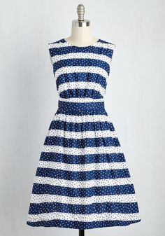 Too Much Fun Dress in Dotted Stripes, #ModCloth