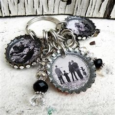 3 Charm Custom Image Bottle Cap Key Chain.  So cute!!!
