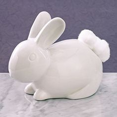 Ceramic Bathroom Bunny Cotton Ball Holder-Cotton Tail White Rabbit Ceramic Cotton Ball Dispenser - Bathroom Novelty and Décor