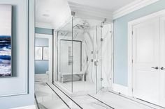 Scott McGillivray's master shower with solid slabs of quartz
